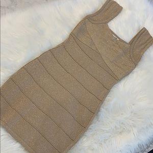 ✨Forever 21✨ gold bandage dress
